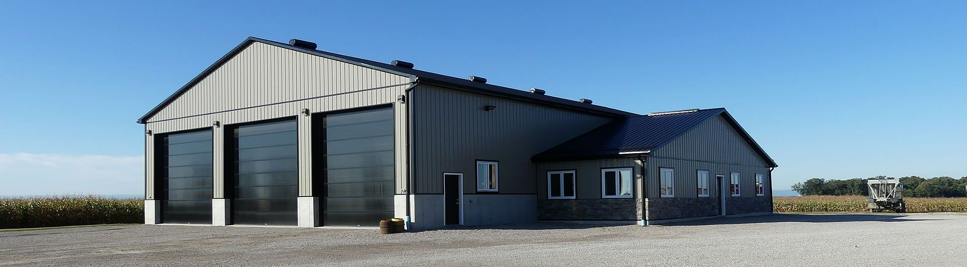 Farm bulding with 3 overhead doors